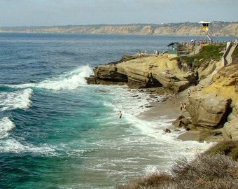 Beach Photography, La Jolla Cove, 8 x 10 Color Print, California coastline, ocean photography, wall decor, Art for staging,