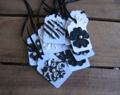 Gift Tag Black and White Gift Tags Set of TWELVE Wedding Birthday Anyday Gift Tags SnowNoseCrafts