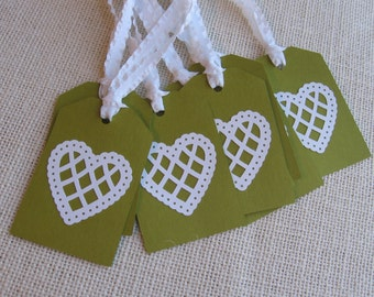 White Heart Gift Tags, Set of SIX Green Tags, Wedding Gift Tags, Decorative Heart Gift Tags