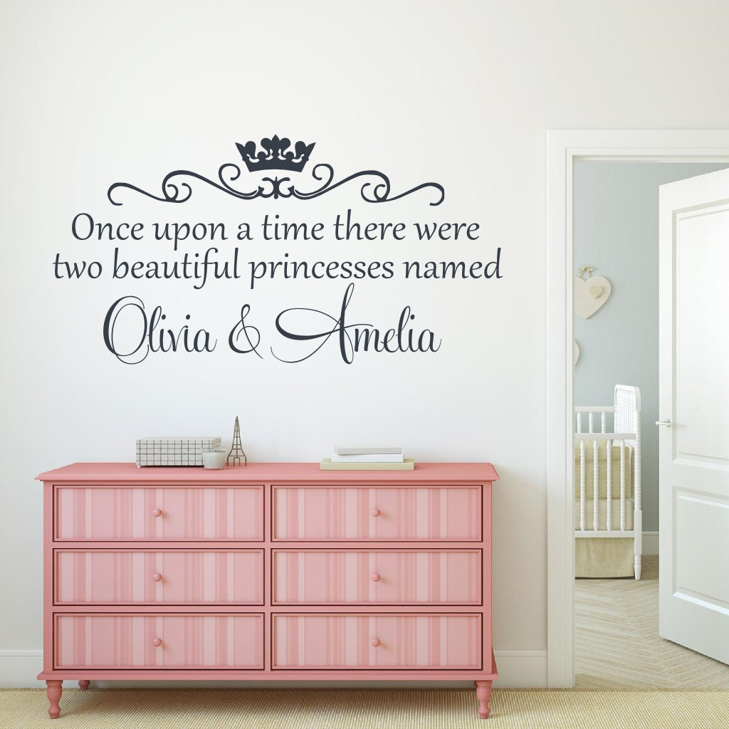Once upon a time there were two princesses wall decal twin zoom amipublicfo Gallery