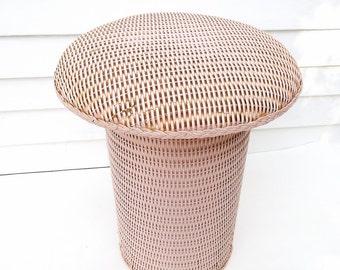 Vintage Wicker Stool | Vanity Bench | Occasional Table | Pink Chair | Rattan Stool | Mushroom Stool