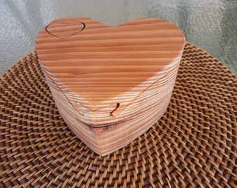 Handcrafted 4 Piece Heart Puzzle Box in Redwood with Heart Key, Danish Oil Finish and Red Interior