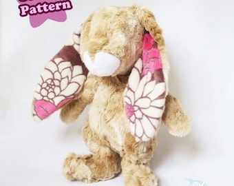 Bunny Plush Sewing Pattern Rabbit Plushie Digital Download | Brown Bunny Plush for Easter Kid Craft PDF DIY