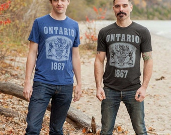 Ontario Seal T-Shirt. Vintage Style Triblend Ontario Canada Unisex Men's Slim Fit and Women's Tee