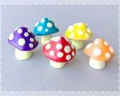Glow in the Dark Mini Terrarium Fairy Garden Knick Knack Mushroom Shrooms - Polymer Clay Sculptures