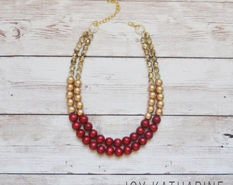 Gold Sparkle Necklace with Marsala, Dark Red, Beads - Gold and Marsala Chunky Statement Necklace
