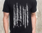 Bigfoot in the Forest T-Shirt - Men's Screen Printed T-Shirt - American Apparel