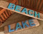 Driftwood Sign LAKE Beach House Beach Decor Driftwood Wall Decor // Coastal Decor // Coastal Cottage // Beach Art