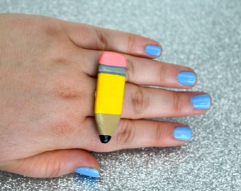 Pencil Ring  {school / teacher / writer / kitschy / knuckle ring / statement ring}
