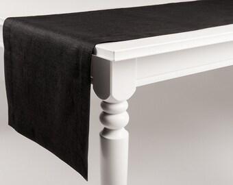 Black table runner Natural table linens