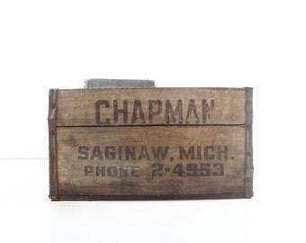Vintage Industrial Wood Crate / Industrial Storage