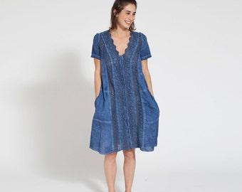 Embroidered Blue dress-short sleeve midi dress