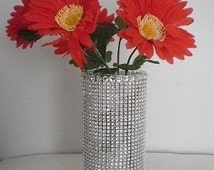 """BLING & DIAMOND WRAP Glass Cylinder Vase - Clear Glass w/ Sparkling Silver Diamond Wrap and Clear Rhinestones - 7"""" or 10"""""""