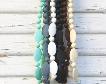 Silicone Teething Necklace - Neutral Collection - FREE SHIPPING SALE - Layered bead nursing necklace - Lots of colors - Sensory teething toy