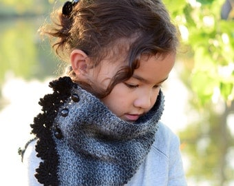 CROCHET PATTERN - 5th Avenue Cowl - crochet cowl pattern, buttoned cowl, crochet scarf (Toddler, Child, Adult sizes) - Instant PDF Download