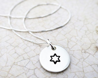 Star of David Necklace - Jewish Star Necklace - Sterling Silver Jewish Star - Hand Stamped Jewelry - Sterling Silver Pendant - Bat Mitzvah
