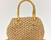 Mid Century Basketweave Straw Handbag / Made in Japan / Woven Grass & Bamboo / Brass Feet / Top Handle / Ball Clasp / Brown / Tan / Camel