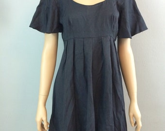 Vintage 90s Gothic Babydoll Dress with Lace Trim