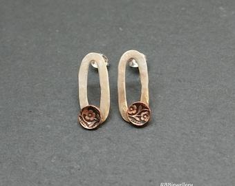 Sterling Silver Copper Mixed Metal Stud Post Earrings