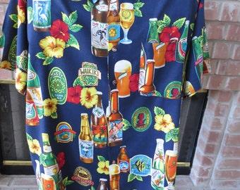 Vintage Mens Hawaiian Aloha Shirt by Monzini Moda ITALY - Size Large - Hawaiian Beer Bottles Logos - Cruise Vacation Luau - Guy Gift