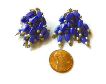 Vintage Castlecliff Blue ChaCha Cluster Earrings Statement Flapper Style 1960s