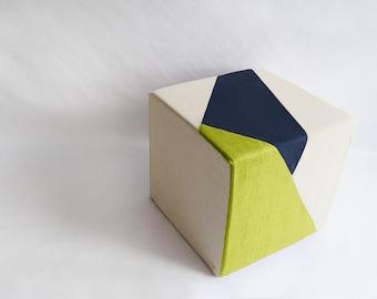 Cream Pouf/Floor Pouf/Ottoman/Geometric Pouf/Apple Green/Navy Blue/Urban/Prism/Modern/Floor Pouf/Unique/Nursery Pouf/ Zigzag Studio Design