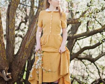 Yellow Dress, Linen Dress, Peter Pan Collar Dress, Summer Dress, Women Mustard Dress, Classic Short Sleeves Dress, Plus Size Maxi Dress