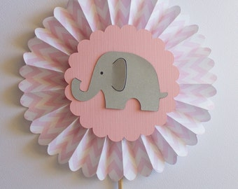 Elephant Baby Shower Centerpiece Pick, Baby Girl, Cake Topper, Elephant Baby Shower Decorations, pink and gray elephant, chevron