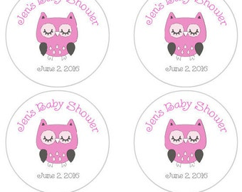 Personalized Baby Shower Favor Labels, Owl Baby Shower Stickers in pink and gray, owl baby shower decorations, pink and gray