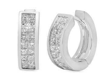 Classic Princess Cut Diamond Hoop Earrings in 14k White Gold 1.50 ct tw | ready to ship!