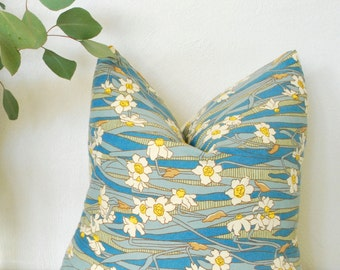 "Pillow Cover Blue Craftsman Style Floral Vintage 16""x16"""