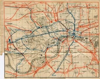 Vintage Railway Map of London 1905 City Map, England, United Kingdom, UK
