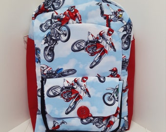 Motor Cross Preschool Backpack