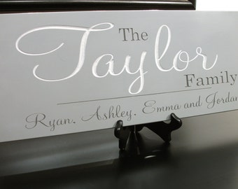 Custom Family Name Sign Personalized Last Name Sign Carved Engraved 7.5 x 22 Hand painted Rustic Distressed