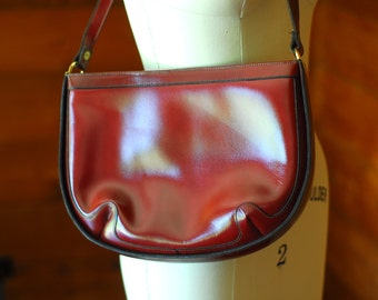 vintage 1970s oxblood leather purse