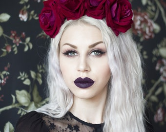 OPHELIA large claret red rose flower crown - Frida - floral headband - Dia De Los Muertos