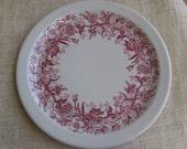 "Shenango Plate, Inca Red Transferware, Salad Plate, Vintage, 8 1/4"" Plate, Restaurant Ware, Red Floral Plate, Red Dinnerware MyVintageTable"