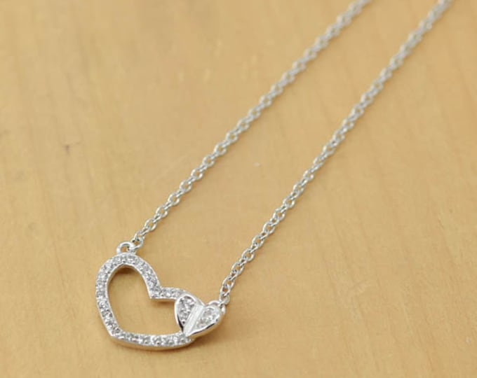 Heart Necklace, Double Heart Pendant, 925 Sterling Silver, Crystal Necklace Pendant, Bridesmaid Gift, Bridesmaid Necklace