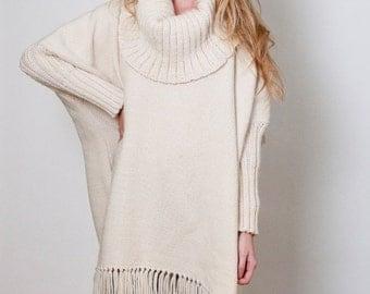 Oversize wool Poncho, Off White cape coat handwoven, Outerwear Loose sweater, Turtleneck Wrap poncho, Women Men fringe kimono