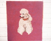 Custom for Dana-Pink Poodle hand embroidered needlework pillow panel seat cover