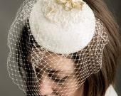 SALE Ivory Flower & Butterfly Bridal Fascinator with Veil, wedding fascinator, birdcage veil