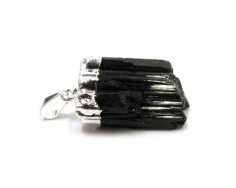 "Black Tourmaline Raw Crystal Silver Pendant 40mm - 43mm / 1.6"" - 1.7"" Natural Rough Stone Necklace (Lot B04S) Natural Mineral Charm"