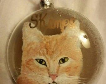 Custom Pet Portrait cat, horse, dog,hand painted Christmas ornament on glass
