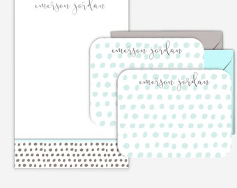 Blue and Grey Patterned Personalized Stationary Set Personalized Notepad Personalized Note Cards Monogram Stationery Mother's Day Gift