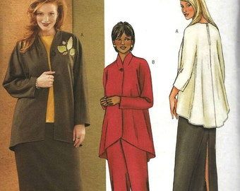 Butterick 3979 Unlined jacket raised neckline shaped hem hi lo top with long skirt and pants elastic waist Size 16W-18W-20W (uncut)