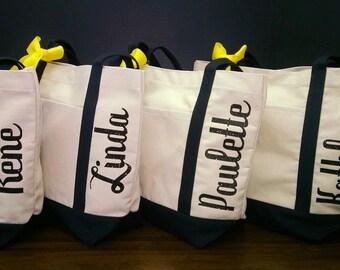 Set of 10 Personalized Bridesmaid Tote Bridesmaid Bags Canvas Tote Bags Bridesmaid Gifts