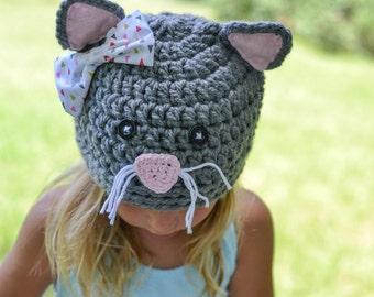 kitty hat, crochet cat hat, kitten hat, crochet kitty hat, girls cat hat, crochet kitten hat, baby hat, girls hat