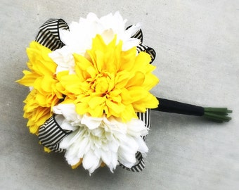 White and Yellow Wedding Bouquet with Silk Dahlias and Black & White Striped Ribbon