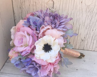 Pastel Silk Wedding Bouquet with Anemones, Peonies, Roses, Dahlia, Dusty Miller - Lilac, Pink & Lavender