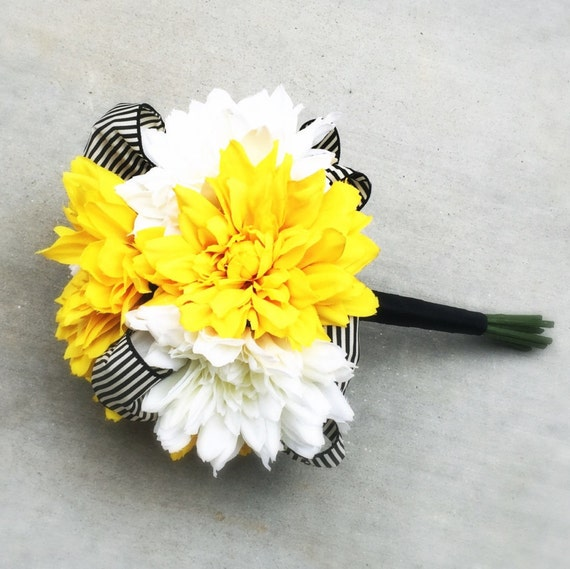 Black And Yellow Wedding Flowers: White And Yellow Wedding Bouquet With Silk Dahlias And Black